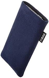 fitBAG Classic Blau Handytasche Tasche aus original Alcantara mit Microfaserinnenfutter für HTC One mini 2