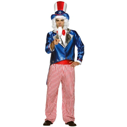 Uncle Sam Mens Fancy Dress Military American 4th of July Adults Costume (Dress Fancy Military)