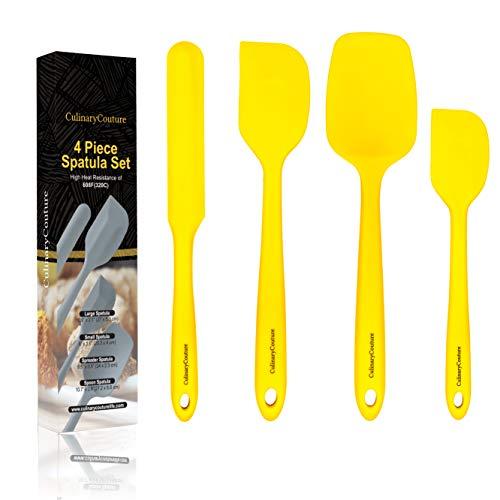 Jaune Jeu de spatules en silicone - Ustensiles de cuisine antiadhésifs résistant à la chaleur élevée - 320C - Noyau en acier robuste - Épandeur, grattoir, spatules Spoonula - Coffret cadeau