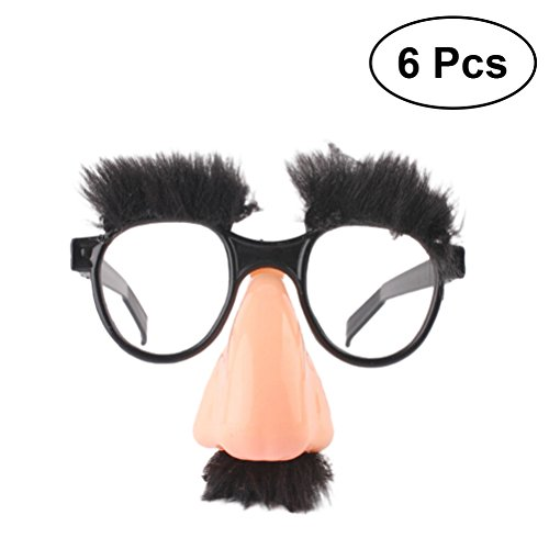YeahiBaby Disguise Gläser Lustige Brillen mit Große Nase Augenbraue Schnurrbart Prank Tool Party Favor 6 Stück