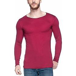 Tinted Men's Solid Slim Fit T-Shirt (TJ102VF_Maroon_Large)
