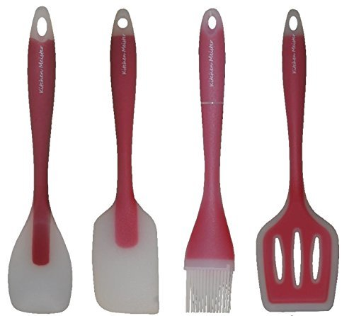 Price comparison product image (4-piece) Red Kitchen Cooking Utensil Gadget Set- Made of One Piece Silicone. Includes; Spatula, Slotted Turner, Spoon, Pastry Brush.-11''