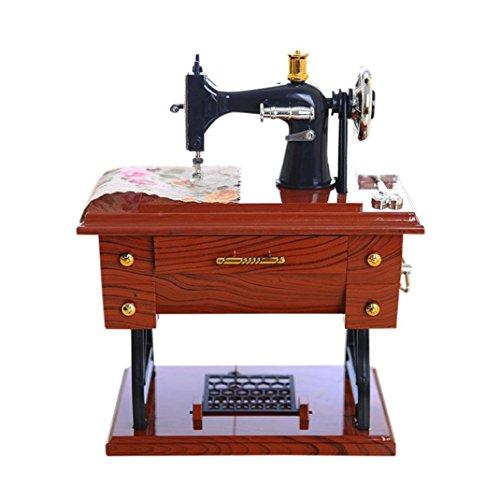 Spieluhr, Holeider Vintage Mini Nähmaschine Musikbox Stil mechanisch Geburtstagsgeschenk Tischdekoration (Mehrfarbig) (Für Klavier Halloween Klassische Musik)
