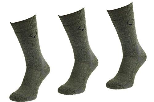 Comodo SMW - Set DE 3 Chaussettes de Chasse | 40% Laine Mérinos | Différentes épaisseurs - SMW1//SMW 2//SMW3//SMW4//SMW5//SMW6, MondoCalza Groessen:43-46, MondoCalza Farbe:SMW3 Khaki