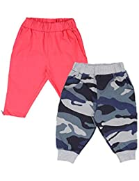 Lil Orchids Girls Pack of 2 Casual Knee Length Pant(LO-2PCK-WVN-CPR-CMB-3_Multi Color)