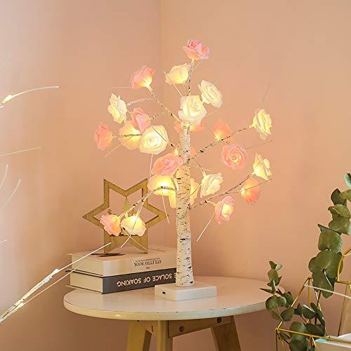 ZKKAW Rose Baum Lichter, LED Tischlampe romantische Nachtlicht Herzstück tolles Dekor für Party Hochzeit Wohnzimmer Home Innendekoration, USB/batteriebetrieben,A (Herzstück Baum)
