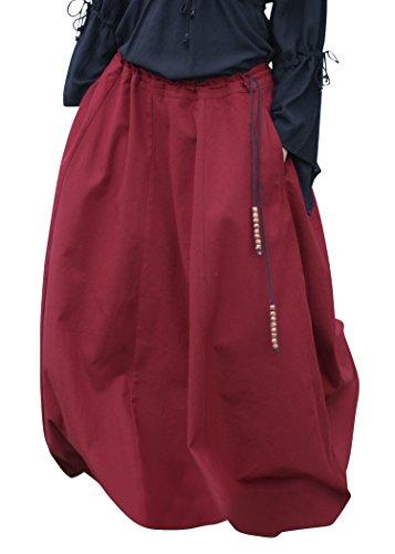 Frauen Mittelalterliche Kostüm - Battle-Merchant Mittelalterlicher Rock, weit ausgestellt, div Farben S-XXL - Mittelalter Kleidung Magd - Wikinger LARP Damen lang (Rot, S)