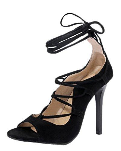 Minetom Femme Orteil Ouvert Talon Haut Sandales Cheville Sangle Pointu Escarpins Chaussures Talon Haut Escarpins Sandals Noir