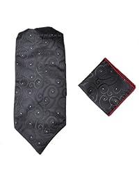 Herren-Premium-Ascot-Krawatte, Italienische Designerkrawatte, 100% Seide, Paisleymuster, mit Einstecktuch