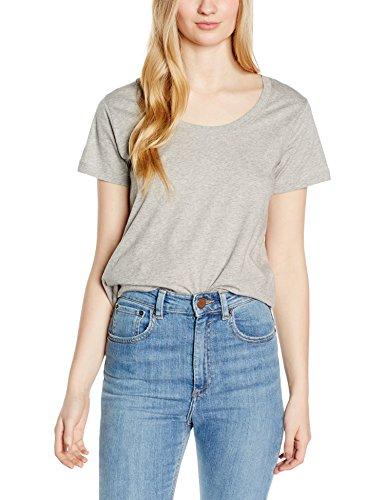 GESTUZ Damen T-Shirt Em SS U-Neck Grau (Light grey melange 90014)