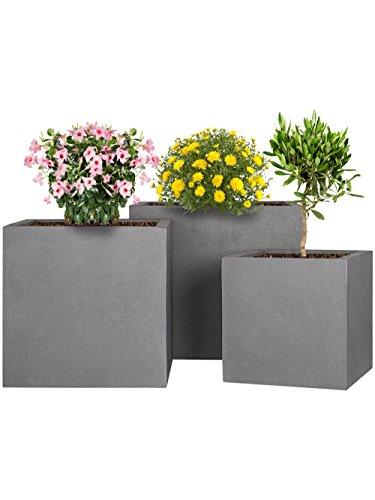 PFLANZWERK Fioriera Vaso per fiori Portavaso Lana di vetro CUBE Grigio 3er-SET 23cm + 28cm + 34cm *Resistente al gelo* *Protezione UV* *Europea di qualità*