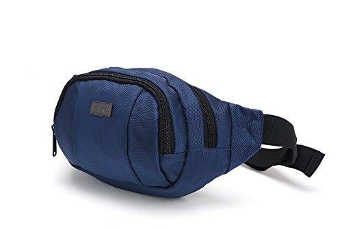 Thinkin Wasserdichtes Nylon Classic Black Sport Taille Gürteltasche Geld Gürteltasche Lässige Handy-Lauf Sicherheit Taille Tasche für Geldbörse , Geräumiger und Light Weight Blau