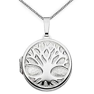 Medaillon Baum des Lebens Hochglanz verziert rund 925 Sterling Silber zum öffnen für Bildereinlage 2 Fotos Amulett Verzierung von Haus der Herzen® mit Schmuck-Etui