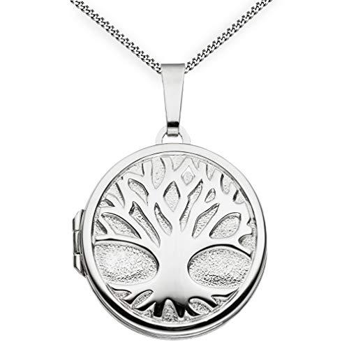 Medaillon Lebensbaum teilmattiert verziert rund 925 Sterling Silber zum öffnen für Bildereinlage 2 Fotos Amulett Verzierung von Haus der Herzen® + Kette mit Schmuck-Etui