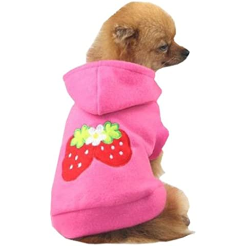 TOOGOO (R) pequeñas fresas perro gato cachorro de forro polar sudadera con capucha ropa mascota Apparel vestido Up–Mascota