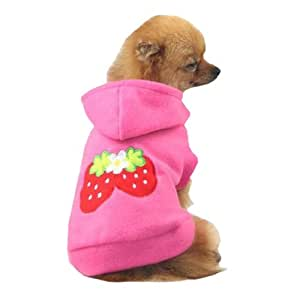 Small Strawberry Dog Cat Puppy Fleece Hoody Clothes Pet Apparel Dress Up - Pet Supplies by Accessorybee