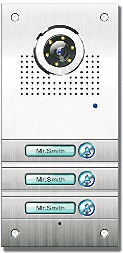 AE Farb-Videotürsprechanlage 3 Fam, Außeneinheit, Edelstahlfrontplatte, 3-Familien, 3 Klingeltaster, Unterputzmontage, SAC563C-CK(3)