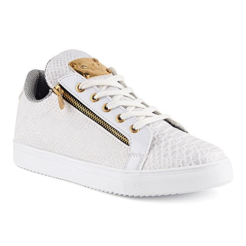 FiveSix Herren Sneaker Sportschuhe Schnürschuhe Schlangenoptik Freizeitschuhe Reißverschluss Lack Low Top Schuhe Weiss-2 EU 43