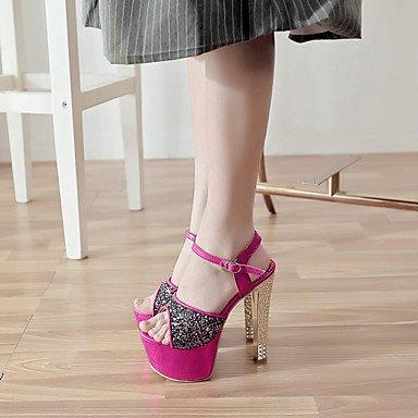Moda Donna Sandali Sexy donna estate tacchi piattaforma / cinturino alla caviglia PU Office & Carriera / Party & sera abito / Stiletto Heel scintillanti Glitter / BuckleRed / Silver