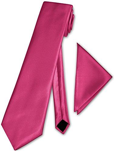 Herren Krawatte klassisch + Einstecktuch + Geschenkkarton - 40 Farben zur Auswahl (Hell Pink)