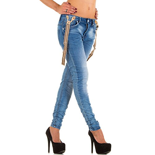 Damen Jeans Hose Simply Chic Träger Jeanshose Boyfriend Grau Blau