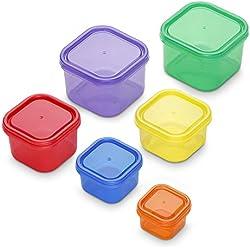 GranRosi Set 6 pezzi, contenitori colorati sottovuoto. Contenitori trendy per cibo sempre sano, croccante e fresco. Adatti anche al congelatore.