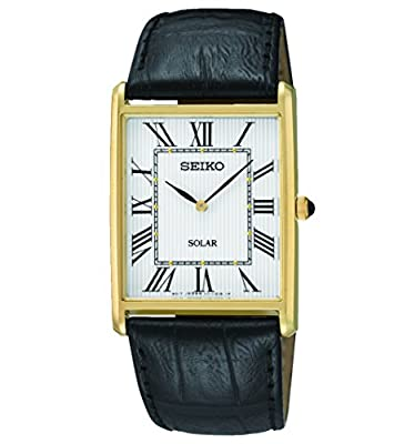 Seiko-Reloj de cuarzo para hombre con esfera analógica de color negro y oro piel sup880p1