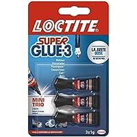 Loctite Super Glue-3 Power Flex Gel Mini Trio, colle forte enrichie en caoutchouc, mini-dose de colle gel ultra-résistante, séchage immédiat, colle transparente, lot de 3 tubes 1 g