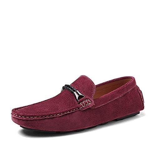 Shenn Herren Slip-on-Mokassin aus Wildleder Loafer Schuhe Weinrot