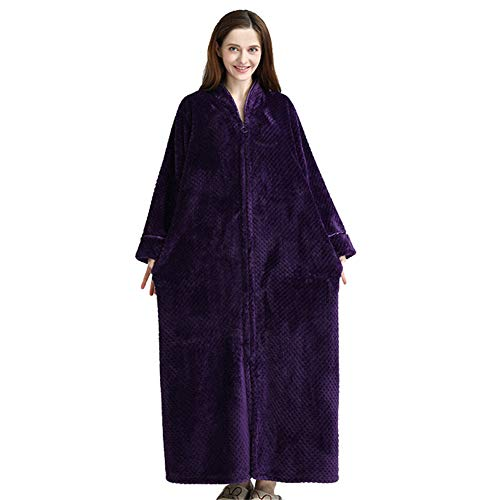 WYDHHLD Frauen Bademantel mit Kapuze aus weichem Korallen-Fleece, mit Kapuze Bademantel Wickel Hausmantel Bademantel,Purple,M -