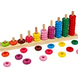 #10: Math Toy - Colorful Rainbow Bead Ring Wooden Educational Counting Toys Math Abacus Number Learning and Counting Stacker Toy - Kids Educational Toys Best Gifts for Boys and Girls by KARP