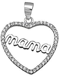 Colgante plata Ley 925m. rodiada mamá corazón circonitas [AA2963]