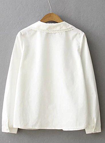 Azbro Women's Peter Pan Collar Long Sleeve Solid Shirt white