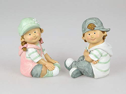 - formano - set di 2 statuette da giardino per bambini estivi felix e suse, altezza 20 cm
