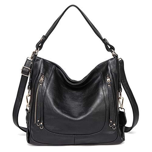 Kasgo borsa donna, moda pelle pu borsa hobo grande borse a spalla borse tote per donne lavoro uso quotidiano con tracolla staccabile nero