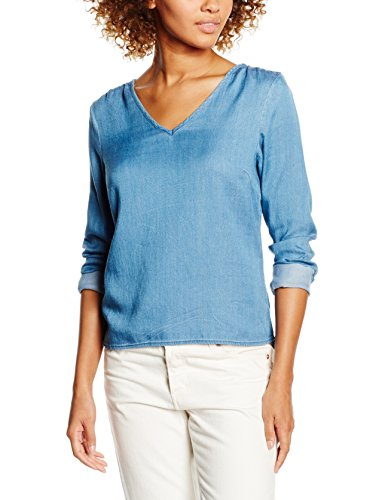 VILA CLOTHES VIYUKA DENIM TOP, Maglia a maniche lunghe Donna, Blu (Medium Blue Denim), 40 (Taglia Produttore: Large)