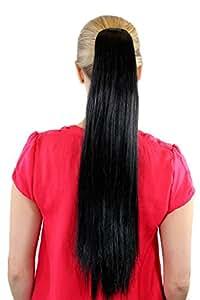 Extension, postiche, noir, couette / tresse, lisse, pince papillon env. 65 cm, XF-6464-2