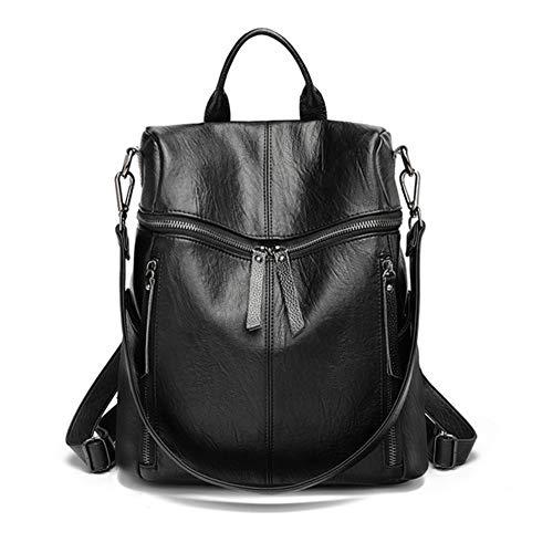 Damen Rucksack Schafsleder - Daypack Schule Lässiger Rucksack 2 in 1 als Rucksack und Schultertasche, Backpack Leichte, Große Kapazität, mehrere Taschen und Mode für Arbeit Schule und Reise (schwarz) - Großer Rucksack Tasche