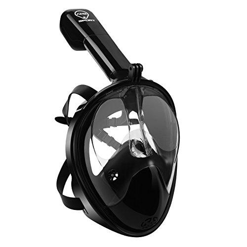 AMZ SPORT Wasserdichte Schnorchelmaske Full Face Free Atmung Design, Anti-Fog und Anti-Leck-Technologie, Tauchmaske mit 180 Grad Anzeigen Black S/M
