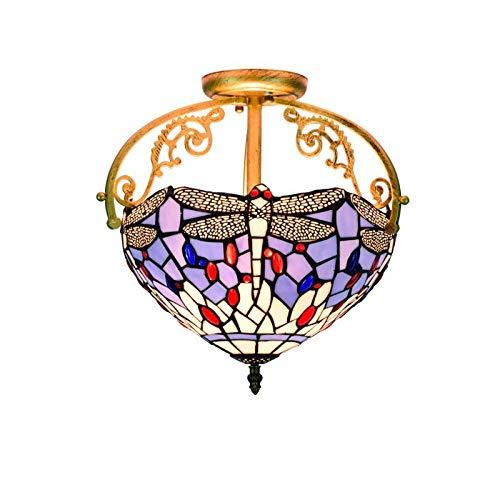 QCKDQ 13-Zoll-Deckenleuchten, Tiffany-Stil Deckenleuchte mit europäischen blauen Emaille Glasmalerei Lampe, Retro Wohnzimmer Dekoration Lichter E27, Max40w -