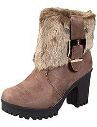 Tefamore Zapatos de Mujer Botines Zapatos Casual de Mujer Martíns Botas Señoras Moda Otoño Invierno Tacón