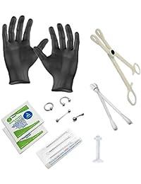BodyJewelryonline Adulto Piercing Kit - 14ga Joyería Incluye Guantes, Pinzas, Agujas y toallitas de