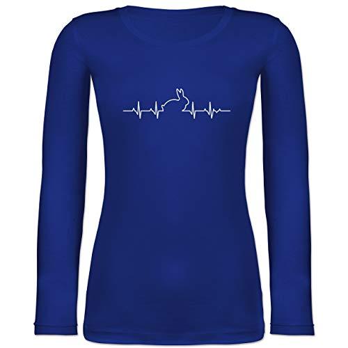 Shirtracer Sonstige Tiere - Herzschlag Hase - XL - Blau - BCTW071 - Langarmshirt Damen -