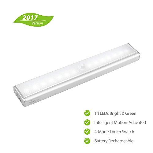 megulla® 14-led wiederaufladbarer Lithium-Ionen-Akku betrieben Indoor Wireless LED Motion Sensor Licht für unter Schrank, Schrank, Speisekammer, Bad, Treppe, Flur, Schrank, attic-cool weiß, 1Stück