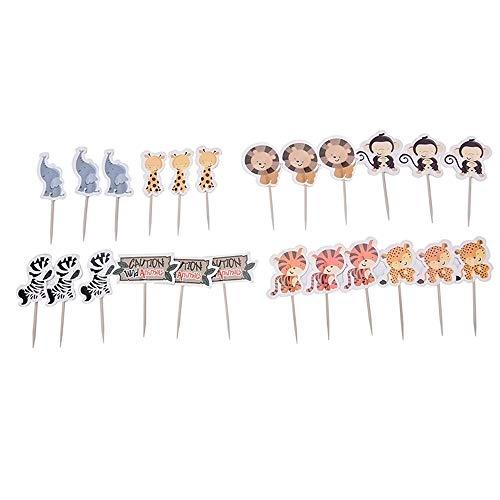 Tier Themen Cupcake Toppers Kuchen Picks für Picknick Hochzeit Baby Shower Birthday Party Dekoration ()
