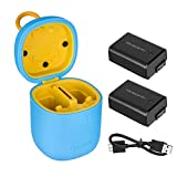 TELESIN allinbox NP-FW50 Chargeur de Batterie d'Appareil Photo pour Sony A6000 A6300 A6500 A7 A7II A7II A7SII A7R A7RII A55 A5100 RX10, etc. (Chargeur allinbox Bleu+2 NP-FW50)