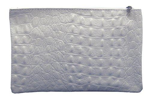 Slignbag Marie Trousse/étui de maquillage en cuir véritable Aspect crocodile Choix de couleurs, blanc (Gris) - Marie weiss