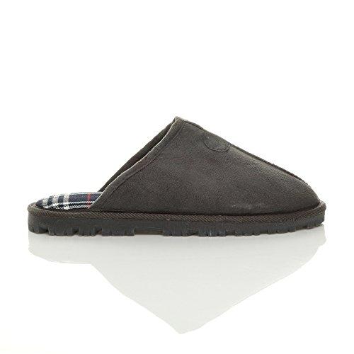 Hommes hiver fourrure luxe chaud confortable cadeau pantoufle chaussons pointure Écossais gris