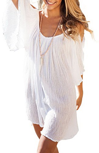 Lukis Damen Rückenfrei Sommerkleid Spaghettiträgern Partykleid Mini Weiß