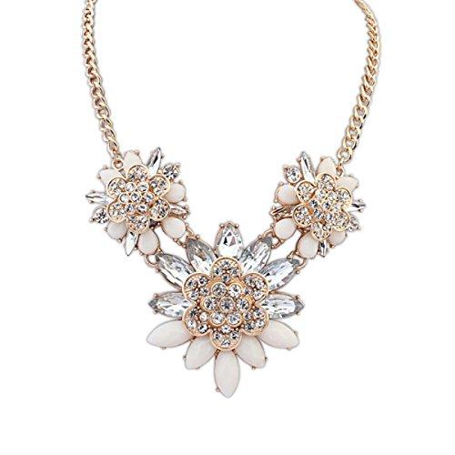 Lady Alliage Collier Mode Exquis Diamant Rétro Chaîne De La Clavicule white
